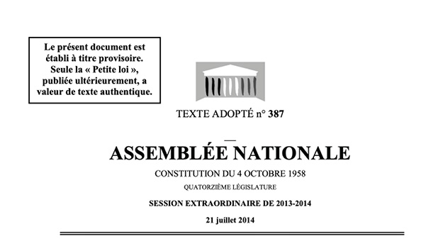 Extrait du texte de loi n°387 du 21 juillet 2014