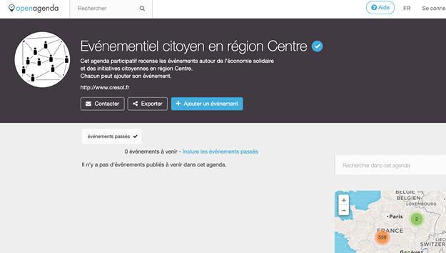 Capture d'écran du site Open Agenda